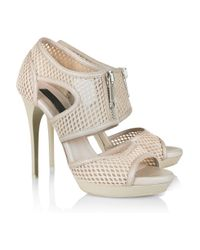 Burberry Prorsum | Brown Leather and Mesh Sandals | Lyst