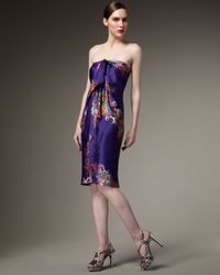Halston | Purple Floral Cocktail Dress | Lyst