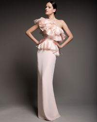 Notte by Marchesa | Pink One-shoulder Sculptural Ruffled Gown | Lyst