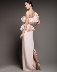 Notte by Marchesa - Pink One-shoulder Sculptural Ruffled Gown - Lyst
