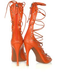 Alaïa | Orange Studded Leather Lace-up Sandals | Lyst