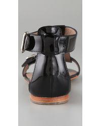 Belle By Sigerson Morrison - Black Buckle T Strap Flat Sandals - Lyst