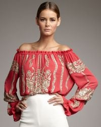 Naeem Khan - Pink Sequined Off-the-shoulder Blouse - Lyst