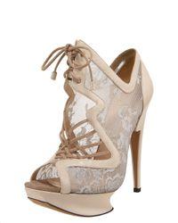 Nicholas Kirkwood | Metallic Lace-up Lace Platform Sandal | Lyst
