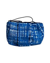 Prada - Royal Blue Crosshatch Printed Nylon Gabardine Bow Wristlet Clutch - Lyst