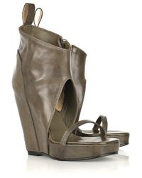 Rick Owens | Gray Open-toe Wedge Leather Ankle Boots | Lyst