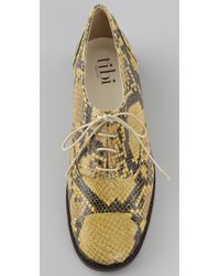 Tibi | Yellow Cap Toe Flat Oxfords | Lyst