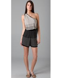 3.1 Phillip Lim - Black Striped One Shoulder Romper - Lyst