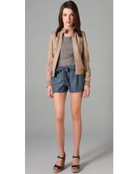Dolce & Gabbana - Natural Zip Front Leather Bomber Jacket - Lyst