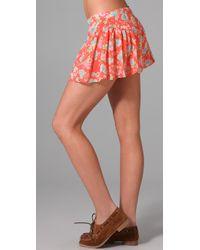 Free People - Orange Ruched Yoke Shorts - Lyst