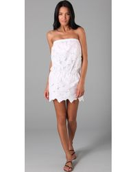 Shoshanna | White Strapless Eyelet Cover Up | Lyst