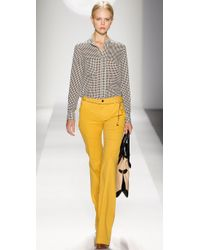 Tory Burch - Yellow High Rise Flare Pants - Lyst