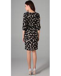Tucker - Black Disco Dress Printed Stretch-silk Dress - Lyst