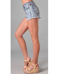 Wildfox | Blue Heather High Waist Shorts | Lyst