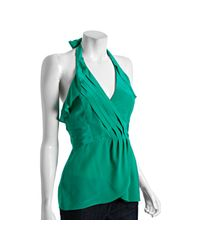 BCBGMAXAZRIA | Green Emerald Silk Pleated Halter Top | Lyst