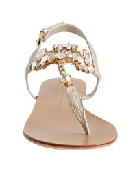 Giuseppe Zanotti - Metallic Champagne Leather Jeweled Thong Sandals - Lyst