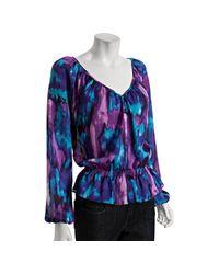 MICHAEL Michael Kors | Blue Eclipse Tie-dye Print V-neck Blouse | Lyst