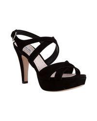 Miu Miu | Black Suede Crisscross Strappy Platform Sandals | Lyst