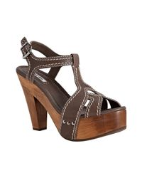Miu Miu | Brown Taupe Buffalo Leather Platform Sandals | Lyst