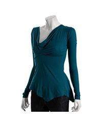Rebecca Beeson | Blue Teal Jersey Asymmetric Cowl Neck Shirt | Lyst