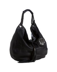 Vince Camuto | Black Pebbled Leather Chain Hobo Bag | Lyst