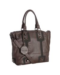 Vince Camuto | Dark Brown Leather Vc Bolts Studded Tote | Lyst