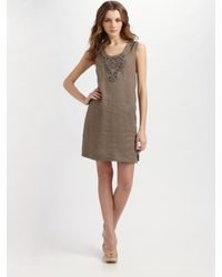 Weekend by Maxmara | Green Beaded Linen Dress | Lyst