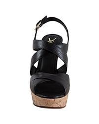 Saint Laurent - Black Leather Deauville 105 Platform Sandals - Lyst