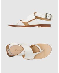 Chloé - White Leather Ankle Wrap Thong Sandals - Lyst