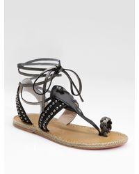 Christian Louboutin | Black Flat Gladiator Sandals | Lyst