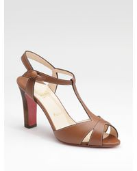 Christian Louboutin | Brown Cotonetta T-strap Sandals | Lyst