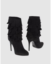 Le Silla | Black Fringed Suede Boots | Lyst