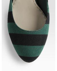 Prada | Green Striped Mary Jane Pumps | Lyst