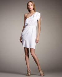 Alice + Olivia | White Carmen One-shoulder Draped Dress | Lyst
