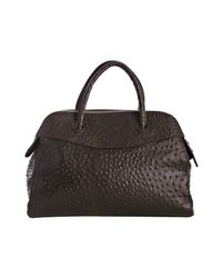 Furla | Brown Coffee Ostrich Stamped Yolande Medium Top Handle Bag | Lyst