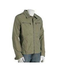John Varvatos | Green Khaki Cotton-blend Zip Front Jacket for Men | Lyst