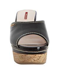 Prada - Sport Black Patent Leather Platform Slides - Lyst