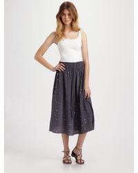 Rebecca Taylor   Gray Mirrored Silk Skirt   Lyst