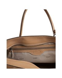 Tod's | Natural Beige Leather Bauletto Styling Satchel | Lyst