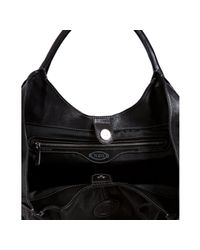 Tod's | Black Leather Ivy Sacca Media Shoulder Bag | Lyst