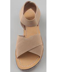 Belle By Sigerson Morrison - Brown Elastic Crisscross Flat Sandals - Lyst