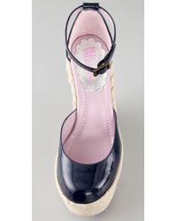RED Valentino | Blue Espadrille Wedge Sandals | Lyst