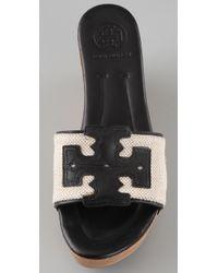 Tory Burch - White Terri Canvas Slide Sandals - Lyst