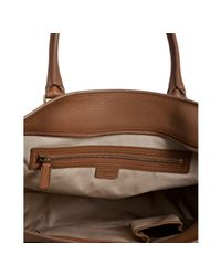 Céline | Brown Tan Pebbled Leather Zipped Shopper Tote | Lyst