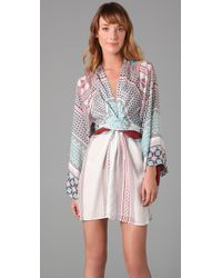 Issa | Blue Short Kimono Dress | Lyst
