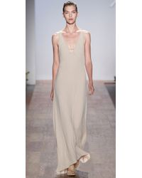 Max Azria - Natural V Neck Gown with Back Straps - Lyst