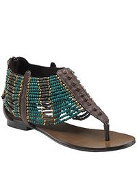 Ash - Molly - Brown Leather Beaded Thong Sandal - Lyst