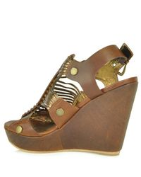 Cynthia Vincent | Brown Roma - Tobacco Leather Gladiator Wedge Sandal | Lyst