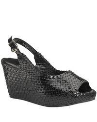 Sheridan Mia - - Black Leather Woven Wedge Sandal - Lyst