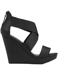 Steve Madden | Riddgge Black Leather Wooden Wedge | Lyst